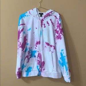 Forever 21 blue and purple tie dye zip up